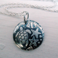 Beach Life - Etched Sterling Silver Pendant
