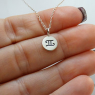 Tiny Gemini Sign Charm Necklace - Sterling Silver
