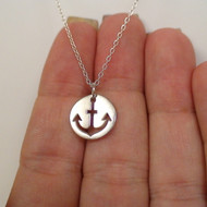 Anchor Cutout Charm Necklace - 925 Sterling Silver