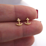 Anchor Earrings - 24K Gold Plated