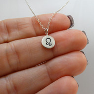 Tiny Leo Sign Charm Necklace - Sterling Silver
