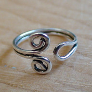 Spiral Toe Ring - 925 Sterling Silver Adjustable