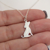 Dog Silhouette Charm Necklace - Sterling Silver