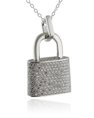 Padlock Pendant Necklace - Sterling Silver with CZ