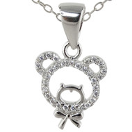 Teddy Bear Necklace - 925 Sterling Silver