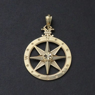 Compass Pendant - 10K Solid Yellow Gold