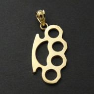 Brass Knuckles Pendant - Solid 10K Yellow Gold