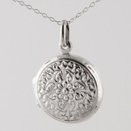 Round Photo Locket Necklace - Sterling Silver