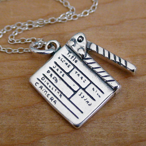 Directors Clapboard Charm Necklace - Sterling Silver