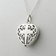 Cross in Heart Locket Necklace - 925 Sterling Silver