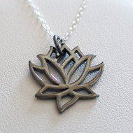 Black Lotus Flower Necklace - Sterling Silver Lotus Charm Necklace