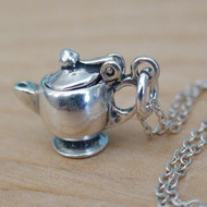 Teapot Charm Necklace - 925 Sterling Silver