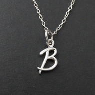 Tiny Initial Letter B Necklace - Sterling Silver