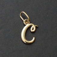 Tiny Initial Letter C Pendant - 10K Solid Yellow Gold