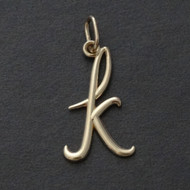 Tiny Initial Letter K Pendant - 10K Solid Yellow Gold