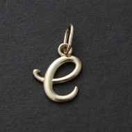 Tiny Initial Letter E Pendant - 10K Solid Yellow Gold