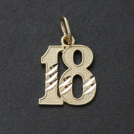 18 Eighteen Charm Pendant - 10K Solid Yellow Gold