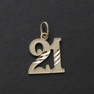 21 Twenty One Charm Pendant - 10K Solid Yellow Gold