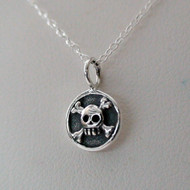 Pirate Skull Necklace - Sterling Silver Skull Necklace