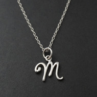 Tiny Initial Letter M Necklace - Sterling Silver