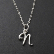 Tiny Initial Letter N Necklace - Sterling Silver