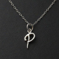Tiny Initial Letter P Necklace - Sterling Silver