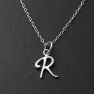 Tiny Initial Letter R Necklace - Sterling Silver