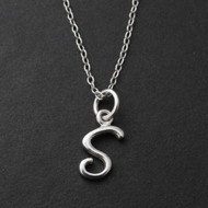 Tiny Initial Letter S Necklace - Sterling Silver