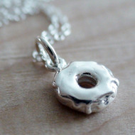 Tiny Donut Charm Necklace - 925 Sterling Silver