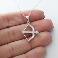 Bow and Arrow Necklace - 925 Sterling Silver & CZ