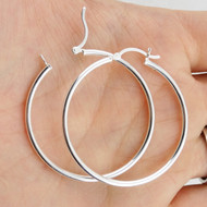 Sterling Silver Hoop Earrings 40 mm - Sterling Silver