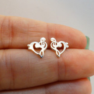 Treble Bass Clef Heart Earrings - Sterling Silver