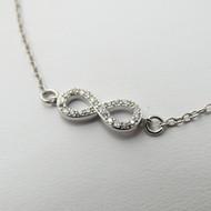 "8"" Infinity Bracelet - 925 Sterling Silver w/CZ"