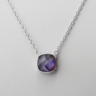 Amethyst February Birthstone Necklace - Sterling Silver