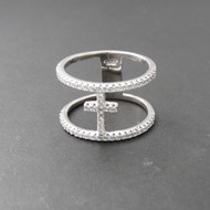 Double Band Cross Ring - Sterling Silver CZ
