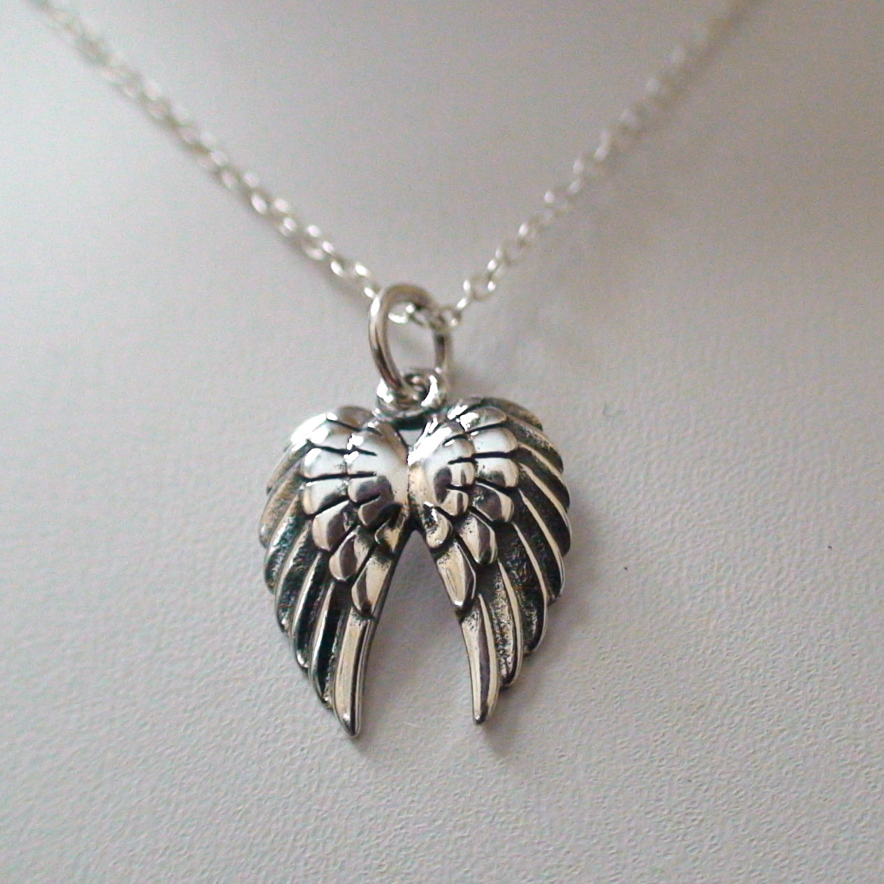 double angel wings necklace sterling silver. Black Bedroom Furniture Sets. Home Design Ideas
