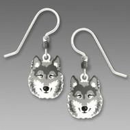 Gray Wolf Earrings - 925 Sterling Silver Ear Wire