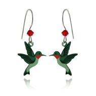Hummingbird Earrings - Sterling Silver Ear Wire