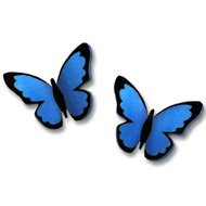 3D Blue Morpho Butterfly Post Earrings