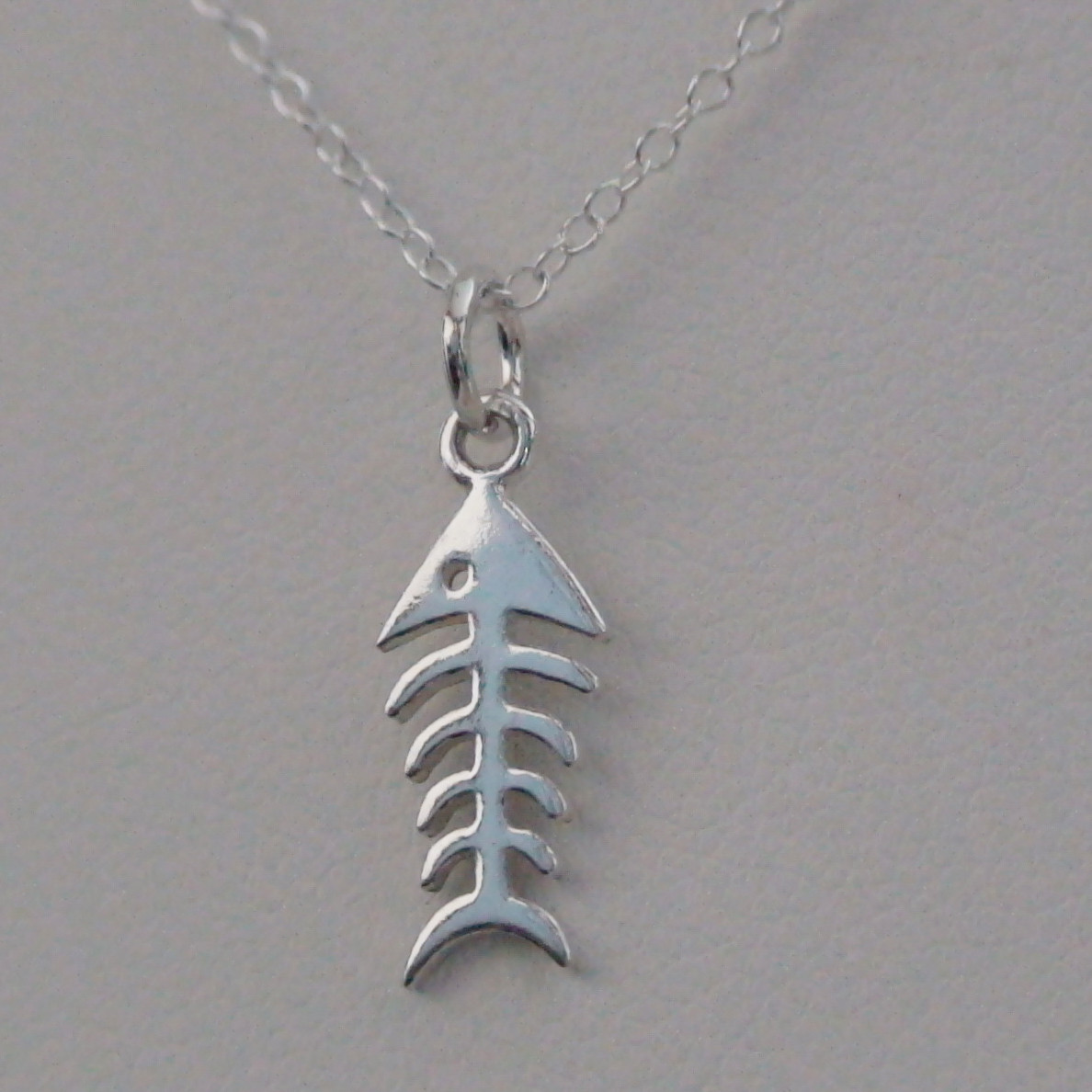 Fish bone charm necklace sterling silver for Fish bone necklace