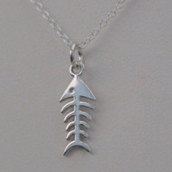 Sterling Silver Fish Bone Charm Necklace