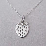 Sterling Silver Strawberry Charm Necklace