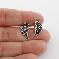 Angel Wing Stud Earrings - 925 Sterling Silver