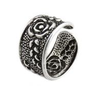 Rose Flower Ear Cuff Earring - Sterling Silver