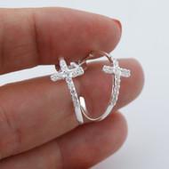 Cross Hoop Post Earrings - 925 Sterling Silver