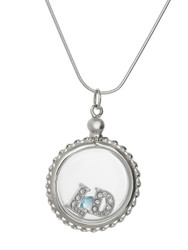 Clear Locket Necklace - 925 Sterling Silver - Small