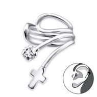 Cross Ear Cuff - 925 Sterling Silver