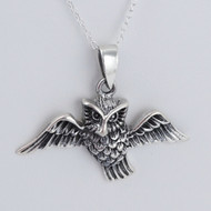 Owl Pendant Necklace - 925 Sterling Silver