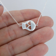 Sideways Sugar Skull Necklace - Sterling Silver