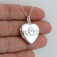 Claddagh Locket Necklace - 925 Sterling Silver